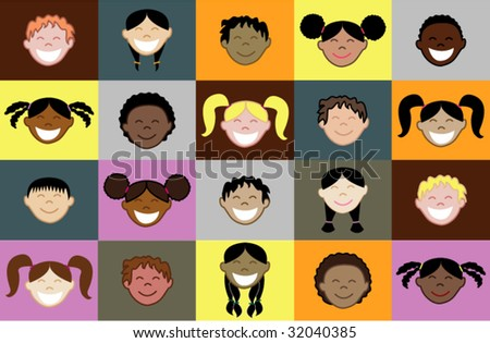 stock vector : Twenty different children faces with colorful pattern