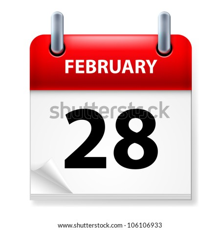 Twenty-eighth February in Calendar icon on white background