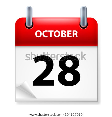Twenty-eighth October in Calendar icon on white background