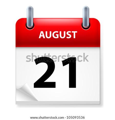 Twenty-first in August Calendar icon on white background