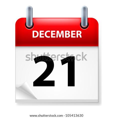 Twenty-first in December Calendar icon on white background