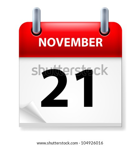 Twenty-first in November Calendar icon on white background