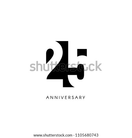 Twenty five anniversary, minimalistic logo. Twenty fifth years, 25th jubilee, greeting card. Birthday invitation. 25 year sign. Black negative space vector illustration on white background