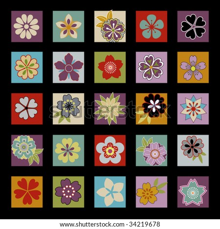 twenty five asian flowers and floral icons laid out in a grid