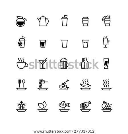 twenty five black  food icons