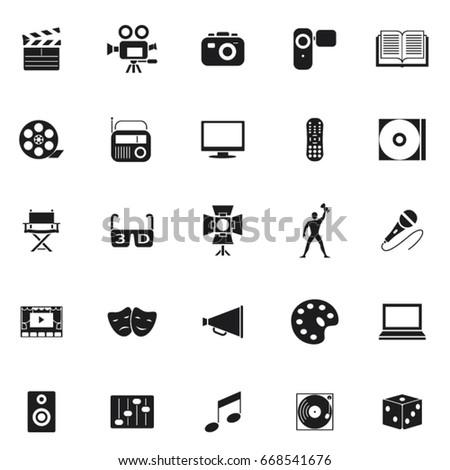 twenty five black set art icons