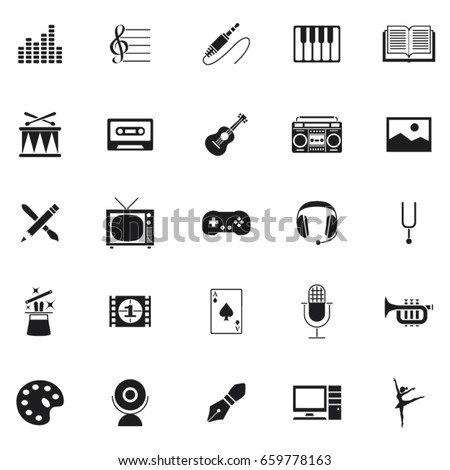 Twenty five black set Art icons Two