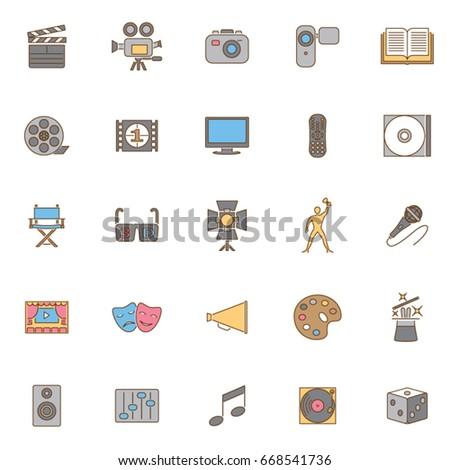 twenty five color set art icons