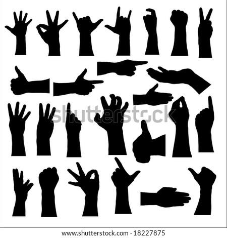 twenty-five hand silhouettes