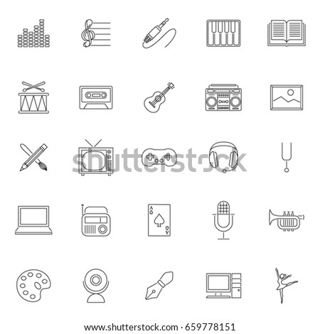 twenty five outline set art