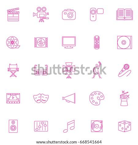 Twenty-five pink set Art icons One