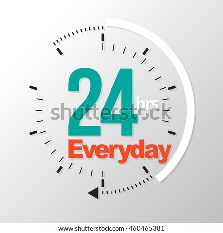 Twenty four hour everyday. Vector illustration. Can use for service advertising. Photo stock ©
