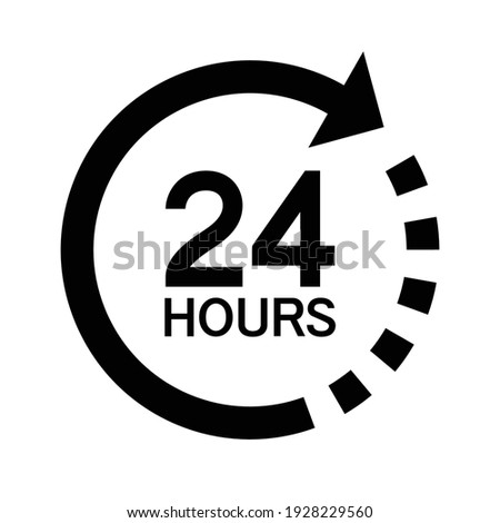 Twenty four hour with arrow loop icon, 24 hours cyclic sign, Opened order execution or delivery, All day business and service, Vector illustration Сток-фото ©