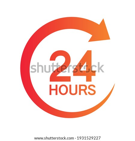 Twenty four hour with arrow loop icon, 24 hours cyclic sign, Opened order execution or delivery, All day business and service, Vector design illustration Сток-фото ©