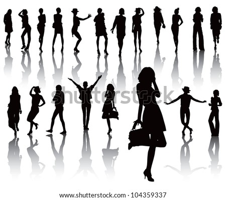 Twenty model black silhouettes over white with shadow. Fashion cloths. Vector illustration.