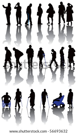 Twenty old and disabled people silhouettes. Vector illustration on white background.