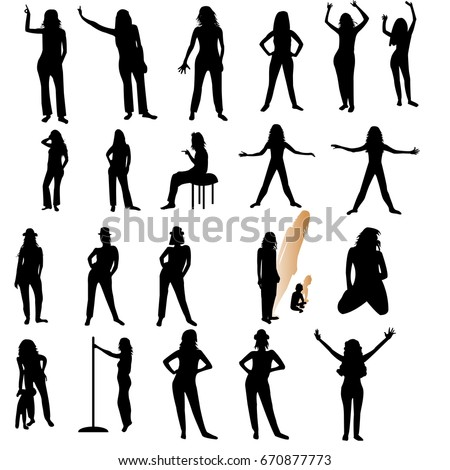 Twenty one woman silhouettes over white background;