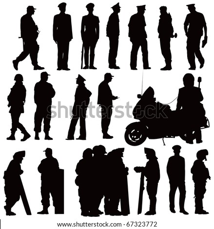 Twenty policeman black silhouettes. Vector illustration on white background