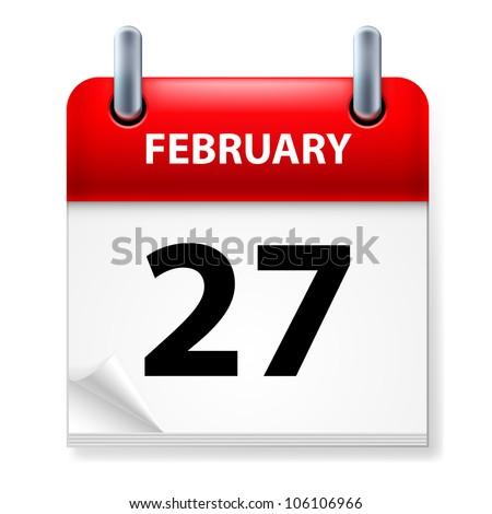 Twenty-seventh February in Calendar icon on white background