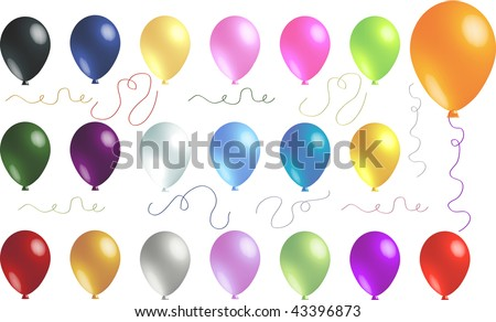 Twenty-Six Beautiful Celebration Balloons with Transparency