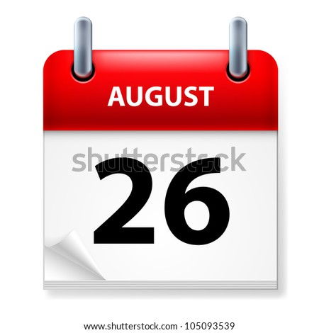 Twenty-Sixth August in Calendar icon on white background