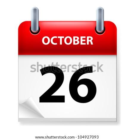 Twenty-Sixth October in Calendar icon on white background