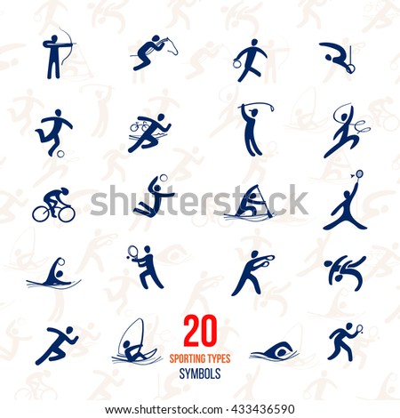 Twenty Sports icons set. Symbol sport concept recreation.Vector illustration isolate on white. Sport recreation icons.