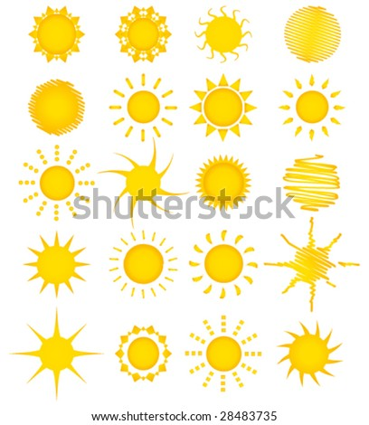 Twenty summer suns vector collection