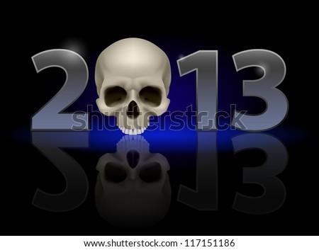 Twenty Thirteen Year. Skull. Illustration on black background