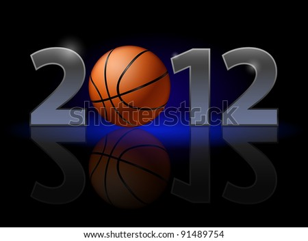 Twenty Twelve year. Basketball. Illustration on black background