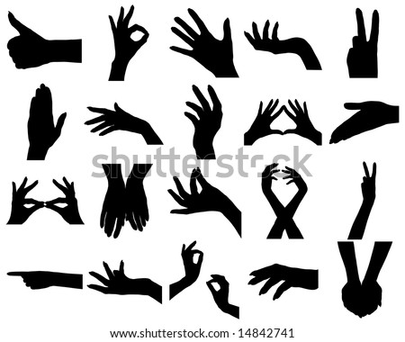 Twenty woman hands silhouettes. On white.