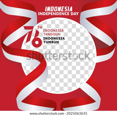 Twibbon celebrates Indonesia's 76th independence day with the Indonesian flag ribbon. Indonesia is tough. Indonesia is growing. Stock fotó ©