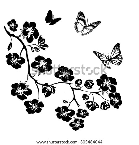 twig sakura blossoms and butterflies Vector illustration Black Silhouette on white background