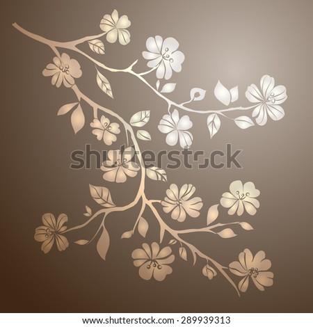 twig sakura blossoms vector