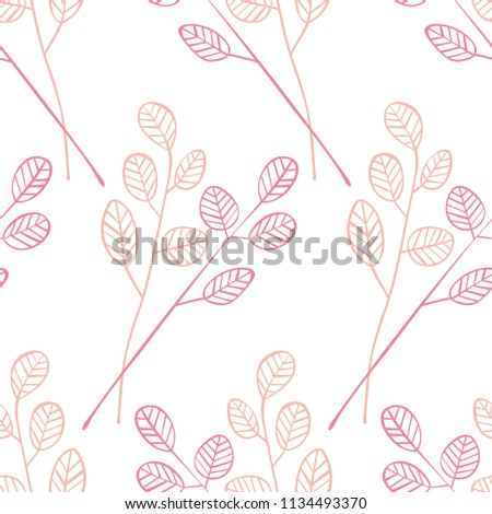 Twigs with leaves. Seamless vector pattern (background).