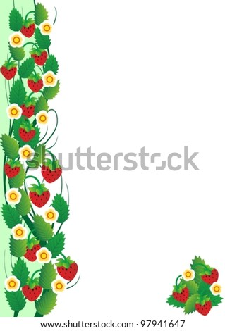Twigs with strawberries. The illustration on a white background. - stock vector