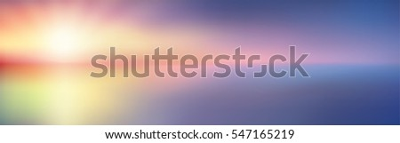 Twilight blurred gradient abstract background. Abstract sky with sunlight rays and sea backdrop. Vector illustration for your graphic design, banner or poster