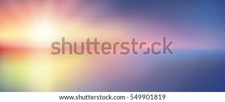 Twilight blurred gradient abstract background. Colorful sea and sky with sunlight rays backdrop. Vector illustration for your graphic design, banner or poster