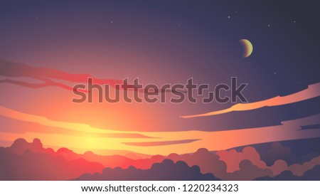twilight purple sky sunset with clouds and moon background vector. Background banner, poster, card, illustration