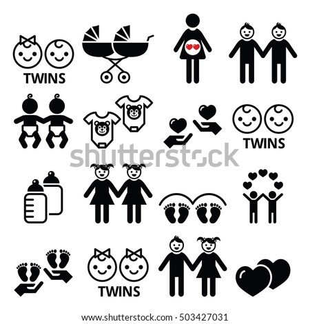 twin babies icons set   double