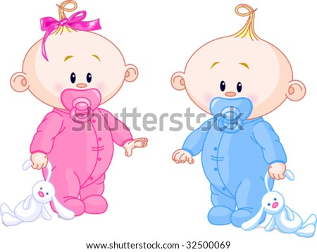 twin baby boy and girl with