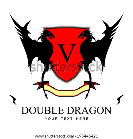 twin black dragons  red shield