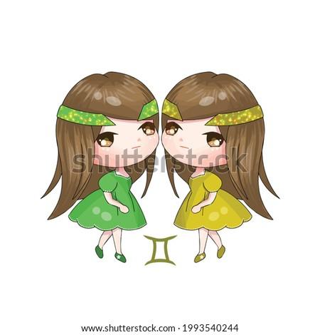twin chibi gemini girls vector illustration