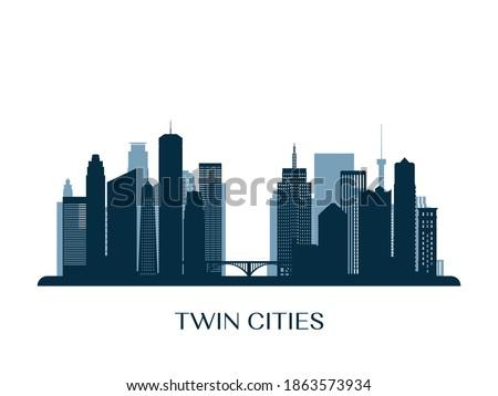 Twin Cities skyline, monochrome silhouette. Vector illustration.