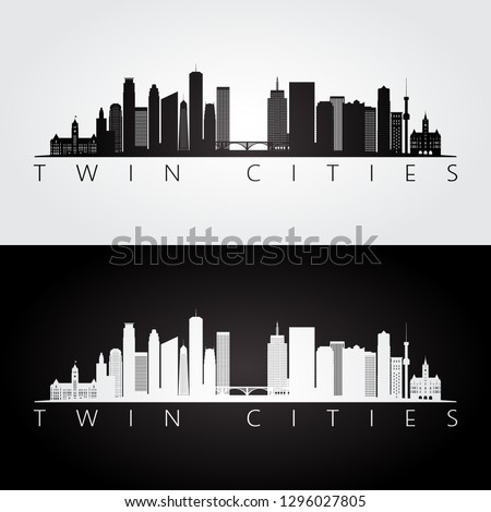 Twin cities USA skyline and landmarks silhouette, black and white design, vector illustration.