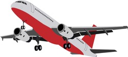 Twin-engine wide-bodied passenger aircraft. Gray plane with a red bottom and a landing gear.