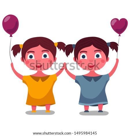 twin girls hold hands children