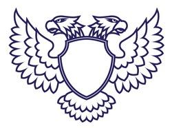 Twin head eagle with a shield emblem