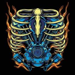 Twin motor engines illustration for t-shirt design