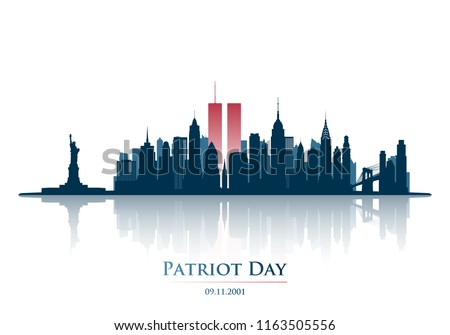 Twin Towers in New York City Skyline. September 11, 2001 National Day of Remembrance. Patriot Day anniversary banner. Vector illustration.